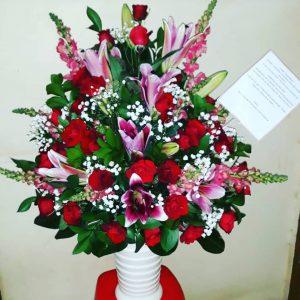 Bunga Meja Kombinasi Kasablanka Mawar Sedap Malam