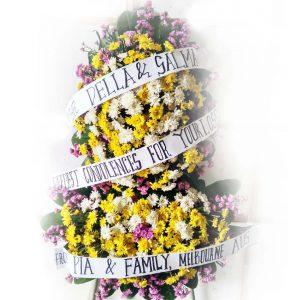 bunga krans tiga warna dengan teks