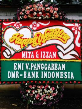 Karangan bunga happy Wedding DMR bank indonesia