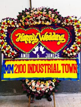 karangan bunga happy wedding mm2100 industrial town